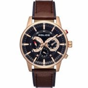 Police Avondale Black Dial Brown Leather Strap Gents Watch 15523JSR/02