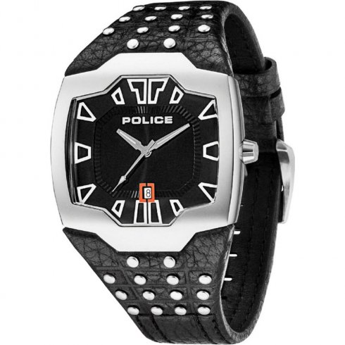 Police Beast black dial leather strap Mens watch 13634JS-02