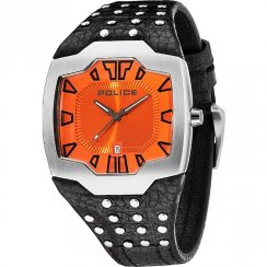 Police Beast orange dial leather strap Mens watch 13634JS-17