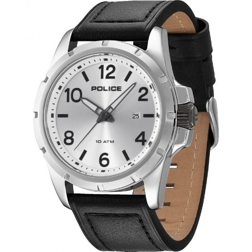 Police Boston silver dial leather strap Mens watch 13828JS-04