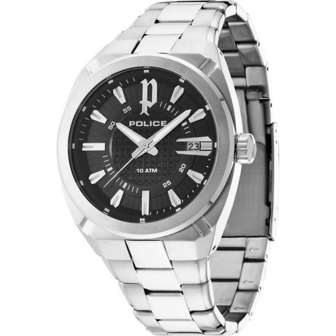 Police Checkpoint black dial stainless steel bracelet Mens watch 14101JS-02M