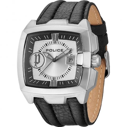 Police Commander silver dial leather strap Mens watch 13895JS-04