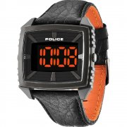 Police Countdown black dial leather strap Mens watch 13890JPBU-02