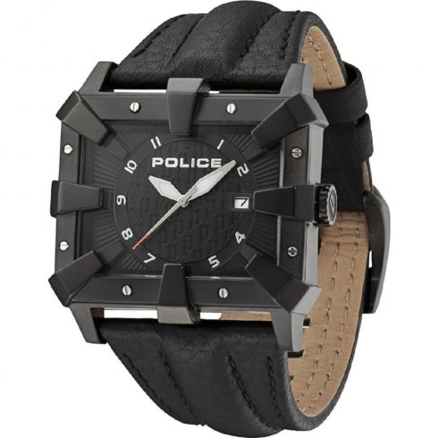 Police Defender black dial leather strap Mens watch 13400JSB-02