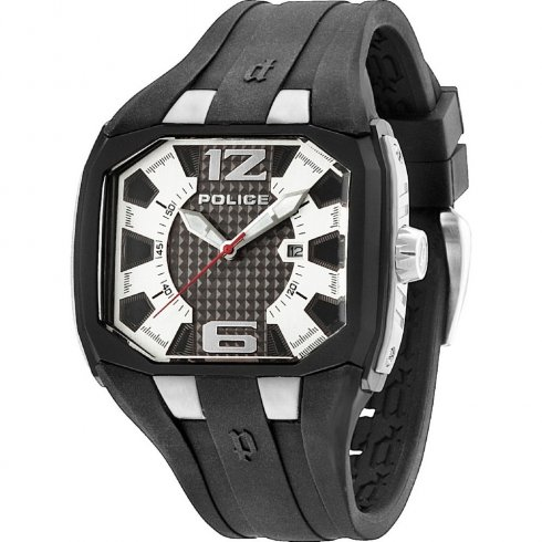 Police Detonator black dial rubber strap Mens watch 13889JPBS-04
