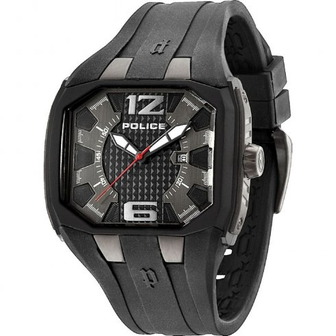 Police Detonator black dial rubber strap Mens watch 13889JPBU-61