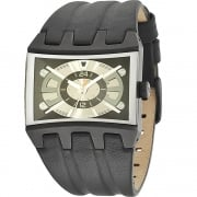 Police Dimension gun metal dial leather strap Mens watch 13420JSB-02A