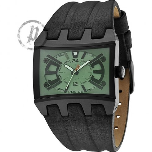 Police Dimension gun metal dial leather strap Mens watch 13420JSB-05B