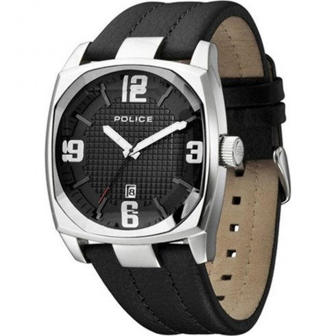 Police Edge black dial leather strap Mens watch 12963JS-61