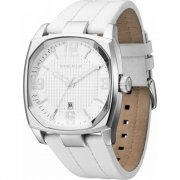 Police Edge silver dial leather strap Mens watch 12963JS-01
