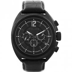 Police Gambler black dial leather bangle Mens watch 13403JSB-02