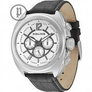 Police Gambler silver dial leather strap Mens watch 13404JS-04