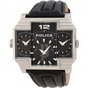 Police Hammerhead black dial leather strap Mens watch 13088JS-02