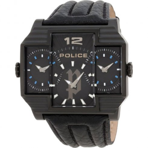 Police Hammerhead black dial leather strap Mens watch 13088JSB-02