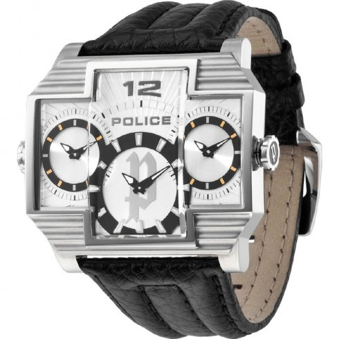 Police Hammerhead silver dial leather strap Mens watch 13088JS-04