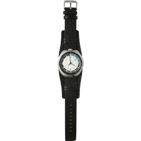 Police Indy Off White Dial Black Leather Cuff Gents Watch 10489JS-14M