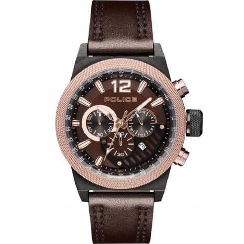 Police Ladbroke Chronograph Brown Leather Strap Gents Watch 15529JSBBN/12