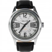 Police Lancer black dial leather strap Mens watch 13453JS-61