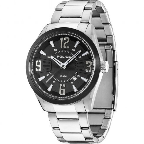 Police Memphis black dial stainless steel bracelet Mens watch 13893JSSB-02M