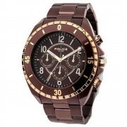 Police Miami brown dial stainless steel bracelet Mens watch 13918JSBN-12M