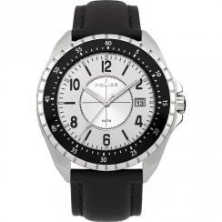 Police Miami Silver Dial Black Leather Strap Mens Watch 13669JS-04