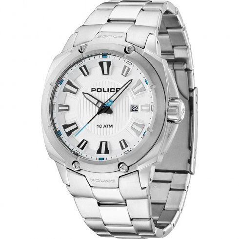 Police Mission white dial stainless steel bracelet Mens watch 13892JS-04M