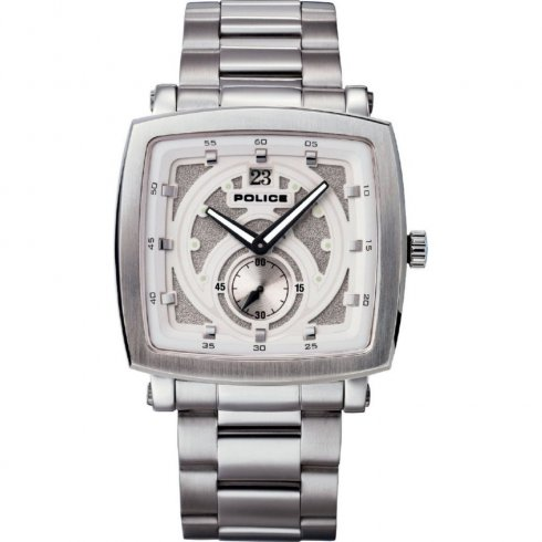 Police Phalanx white dial stainless steel bracelet Mens watch 11599JS-01M