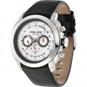 Police Pilot white dial leather strap Mens watch 12677JS-04