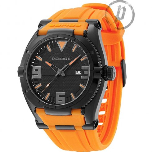 Police Raptor Black Dial Orange Rubber Strap Mens Watch 13093JSB-02A