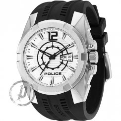 Police Radical silver dial rubber strap Mens watch 13421JS-04