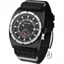 Police Ranger black dial leather strap Mens watch 12173JSBS-02