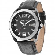Police Ranger II Black Dial Black Leather Strap Mens Watch 14103JSBS-02
