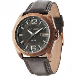 Police Ranger Ii black dial leather strap Mens watch 14103JSQR-61