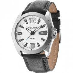 Police Ranger Ii white dial leather strap Mens watch 14103JS-04