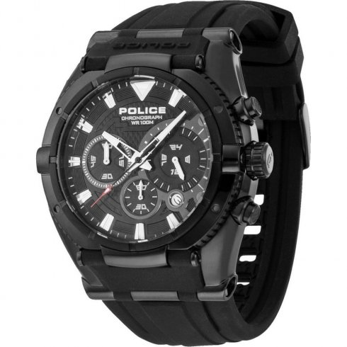 Police Raptor Chronograph Black Dial Rubber Strap Mens Watch 13092JSB-02