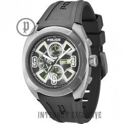 Police Saturen gun metal dial rubber strap Mens watch 13594JSU-02