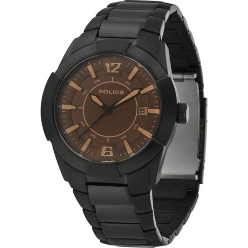 Police Sincere brown dial stainless steel bracelet Mens watch 12547JSB-61M