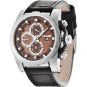 Police Speedster brown dial leather strap Mens watch 13928JS-12