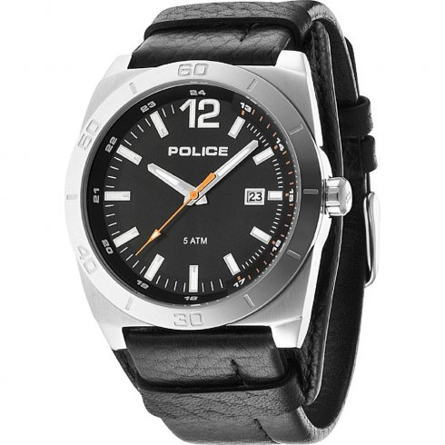 Police Stampede black dial leather cuff Mens watch 14107JS-02