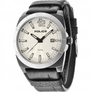 Police Stampede black dial leather cuff Mens watch 14107JSBS-04