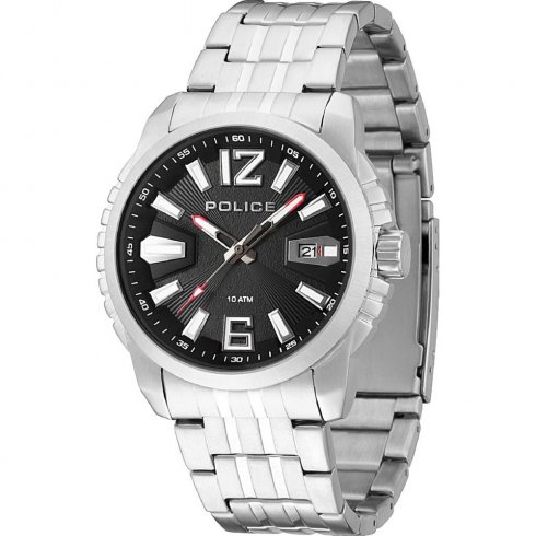 Police Survivor black dial stainless steel bracelet Mens watch 13896JS-02M