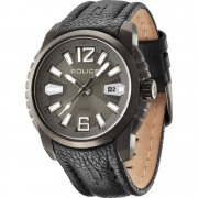 Police Survivor gun metal dial leather strap Mens watch 13896JSU-61
