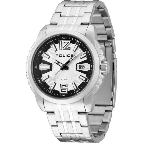 Police Survivor silver dial stainless steel bracelet Mens watch 13896JS-04M