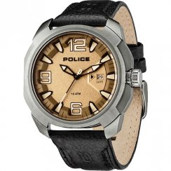Police Texas brown dial leather strap Mens watch 13836JS-61