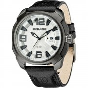 Police Texas silver dial leather strap Mens watch 13836JSU-04