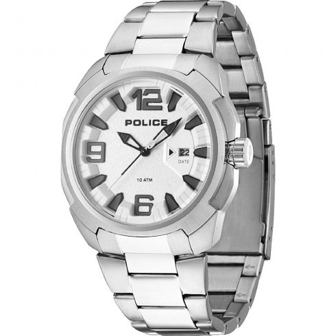 Police Texas silver dial stainless steel bracelet Mens watch 13836JS-04M