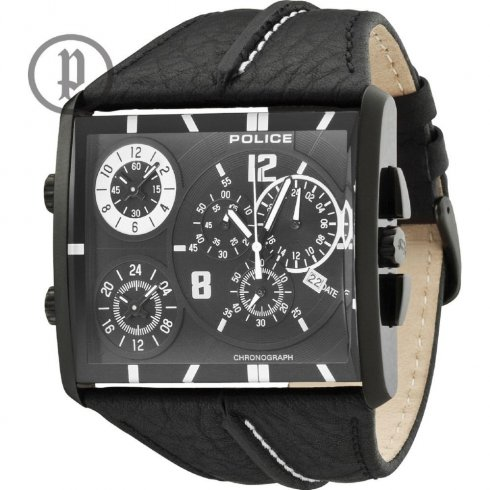 Police Tripod Chronograph  black dial chronograph leather strap Mens watch 13497JSB-02B