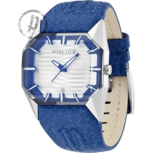 Police Vector White Dial Blue Leather Strap Gents Watch 12176JS-04B