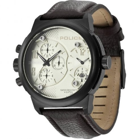 Police Viper beige dial chronograph leather strap Mens watch 12739JSB-11