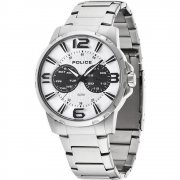 Police Visionary white dial stainless steel bracelet Mens watch 14100JS-01M